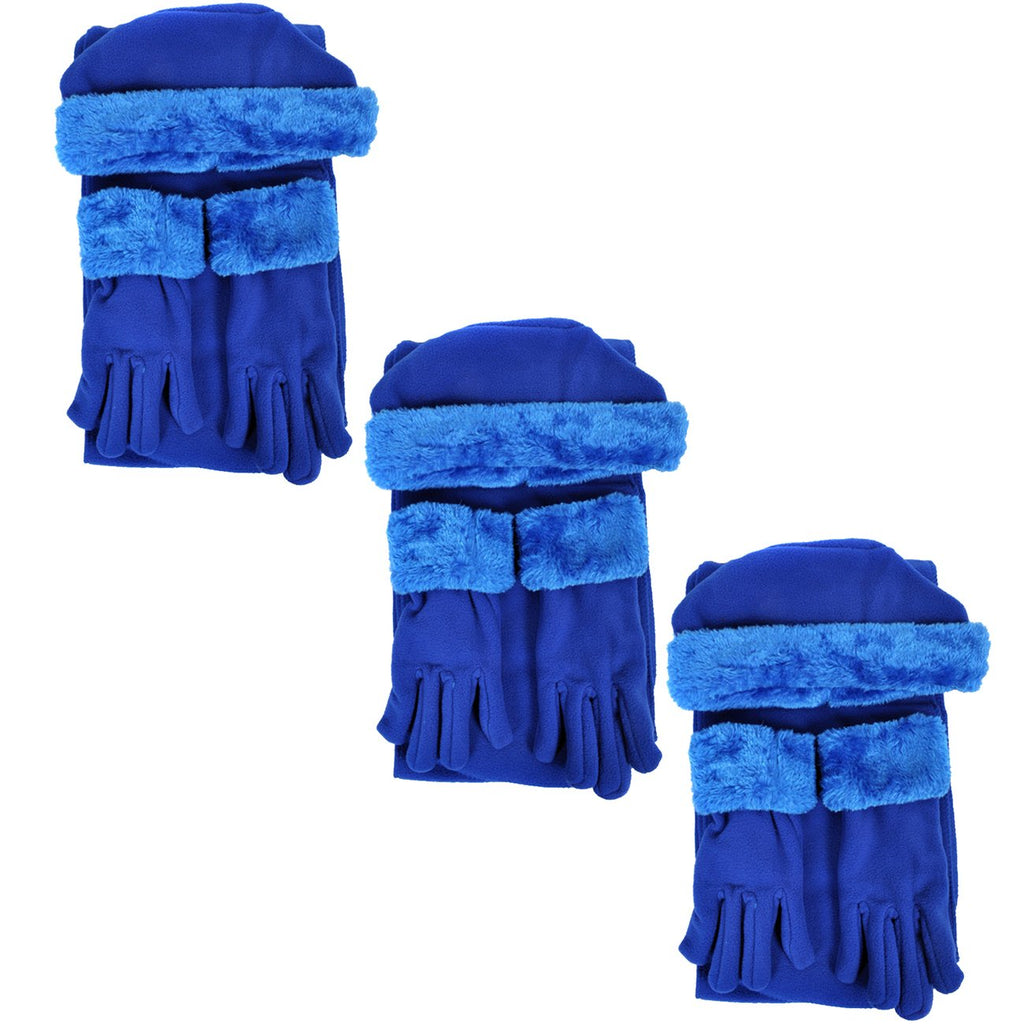Cloche Fur Trim 3 Piece Fleece Hat, Scarf & Glove Women's Winter Set