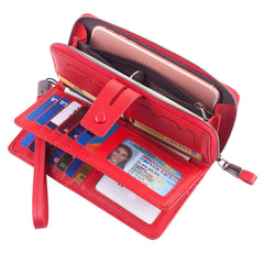 Women RFID Wristlet Wallet Large Capacity Leather Clutch Multi Card Organizer