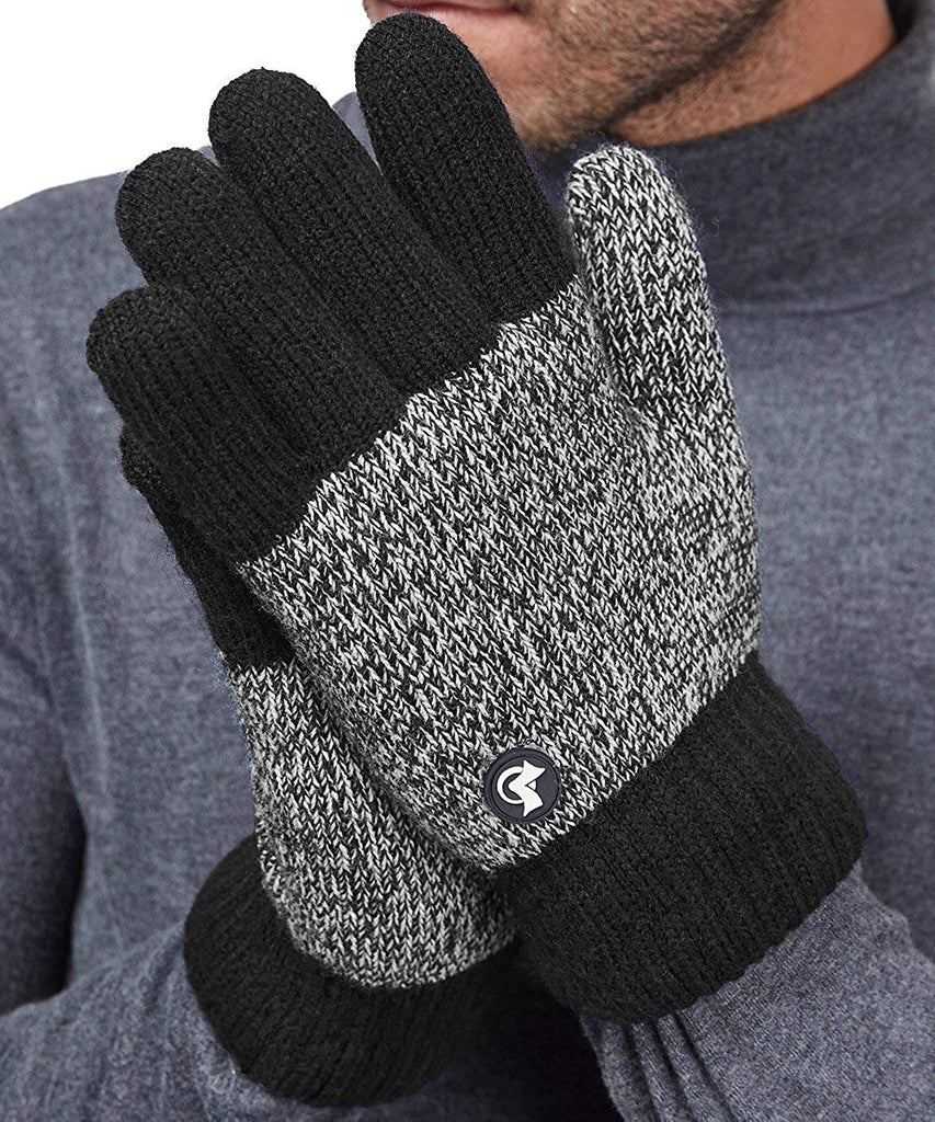 LETHMIK Thick Fleece Winter Gloves Mens Mix Knit for Cold Weather
