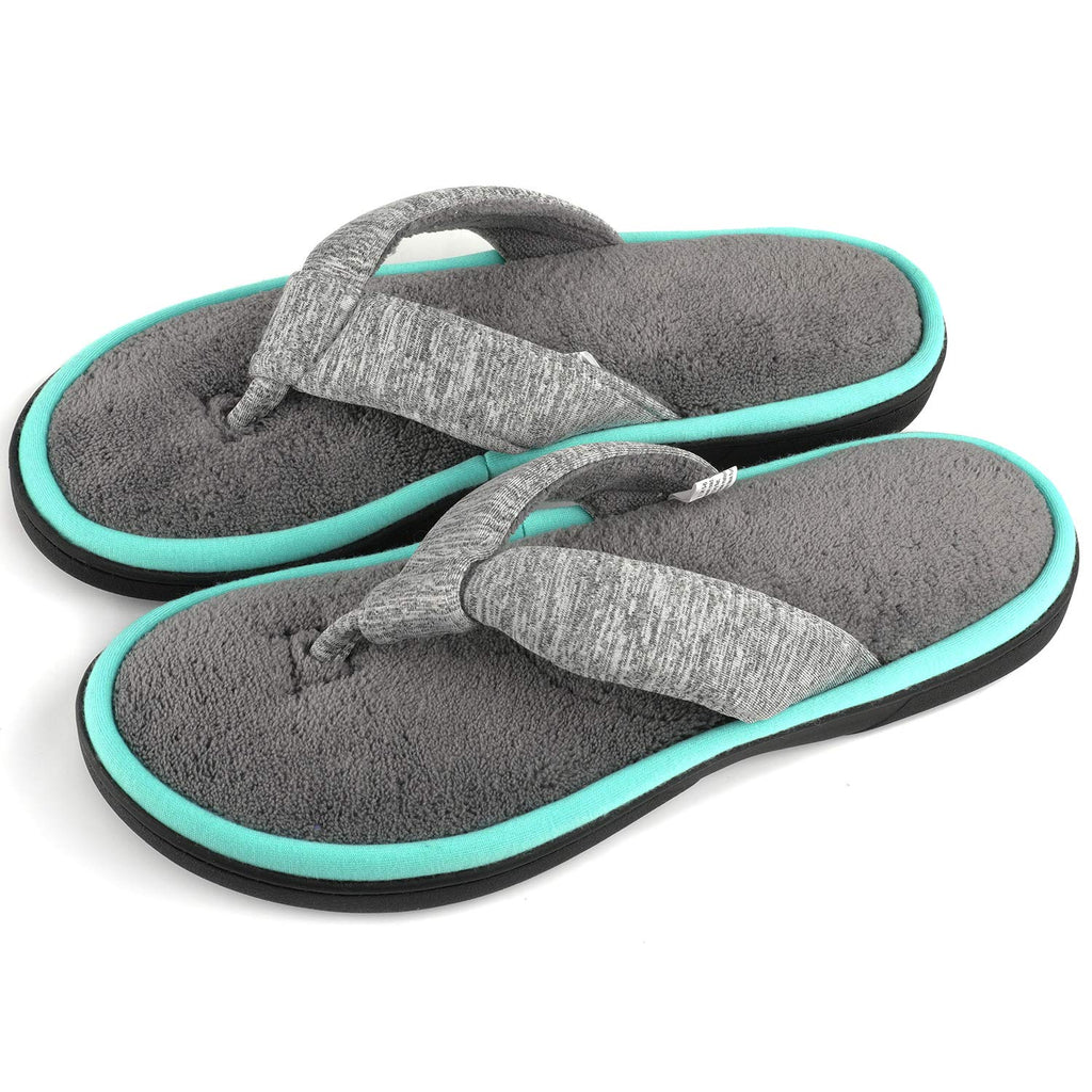 ULTRAIDEAS Women's Memory Foam Flip Flop Slippers with Cozy Terry Lining, Moisture-Wicking Open Toe Slip On Spa Thong Sandals Mules, Ladies' House Sho