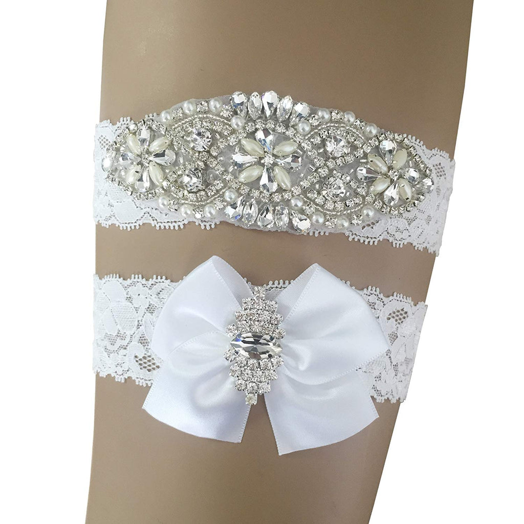 PLUS SIZE Gray Silver and White Lace GARTER FEATHERS Prom Wedding Special Bridal