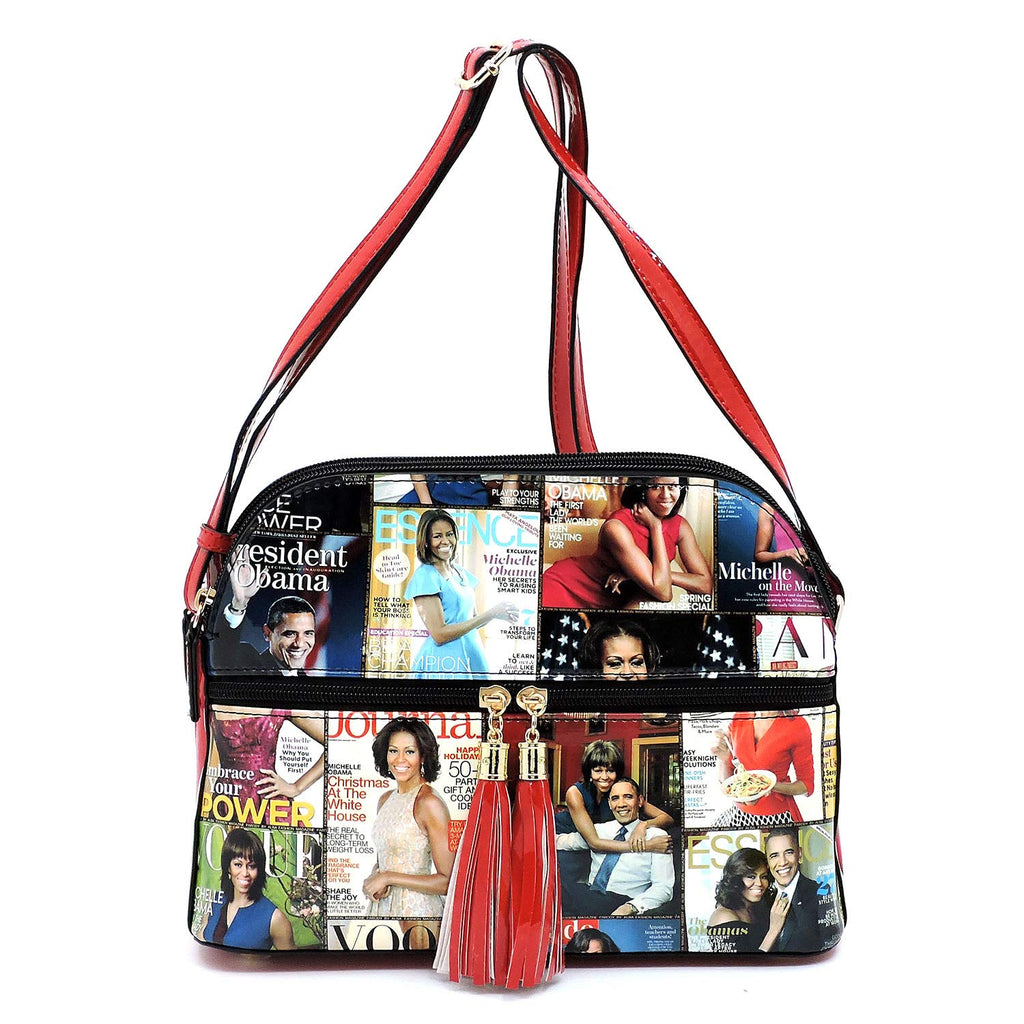Glossy magazine cover collage multi compartments crossbody bag purses Michelle Obama bags with tassels