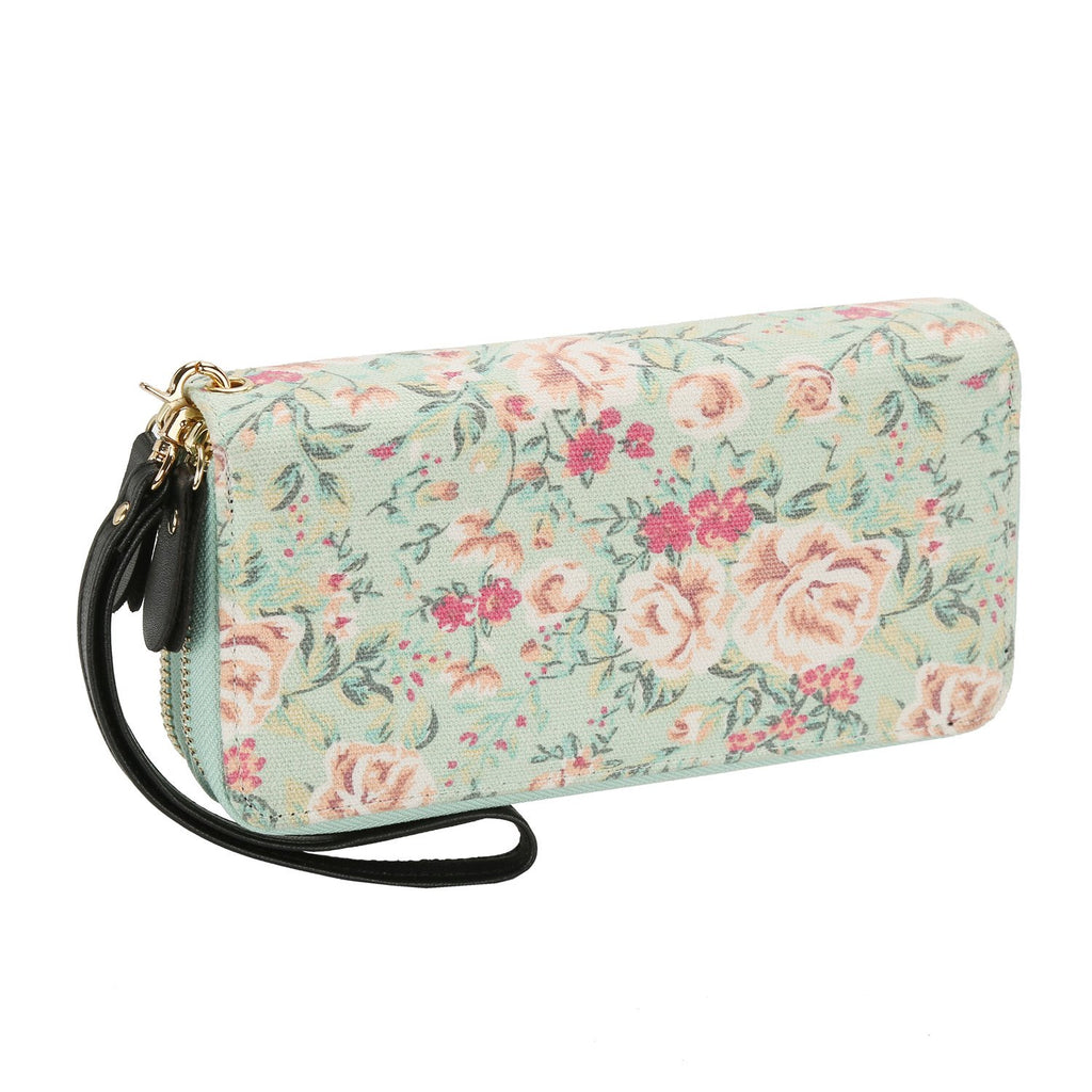 Women Floral Wallet Zipper Canvas Purse Long Clutch Bag Flower with Coin Pocket and Strap