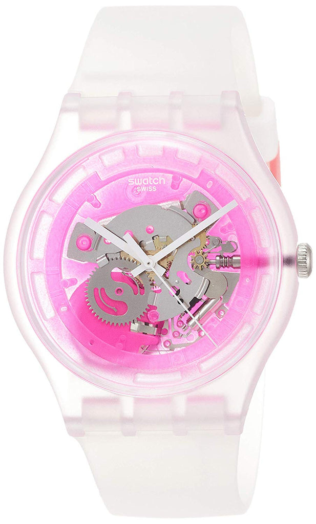 Swatch Pinkmazing SUOK130 Clear Silicone Quartz Fashion Watch