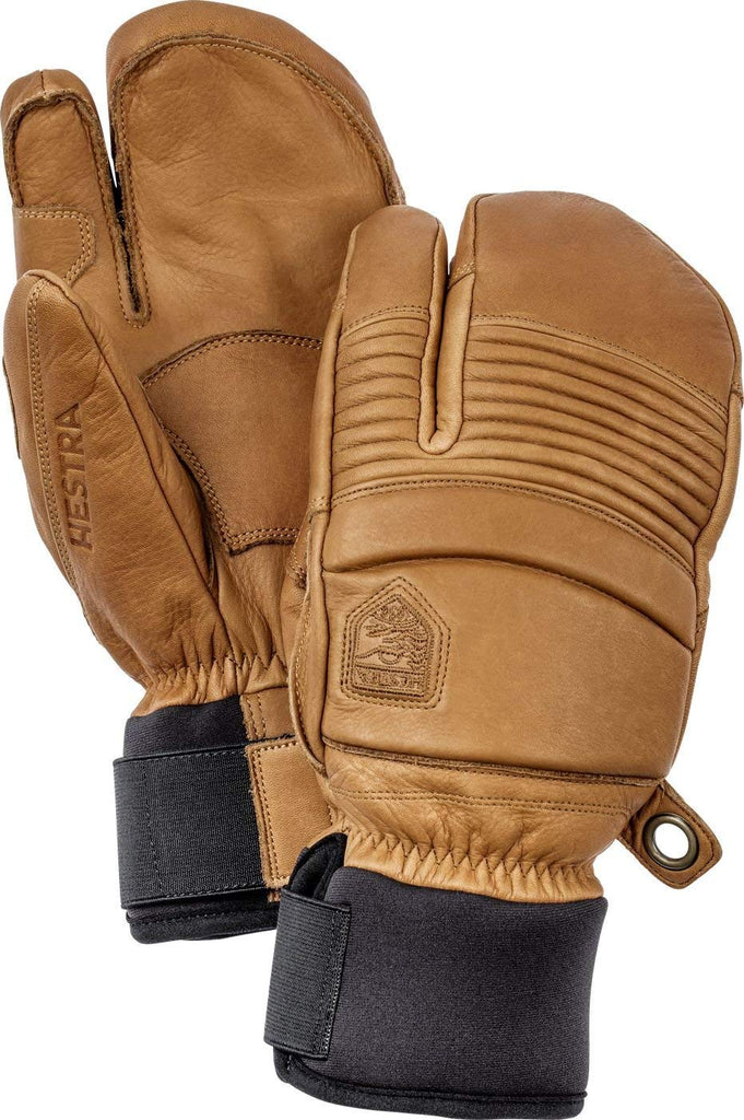 Hestra Mens Ski Gloves: Fall Line Winter Cold Weather Leather 3-Finger Mittens