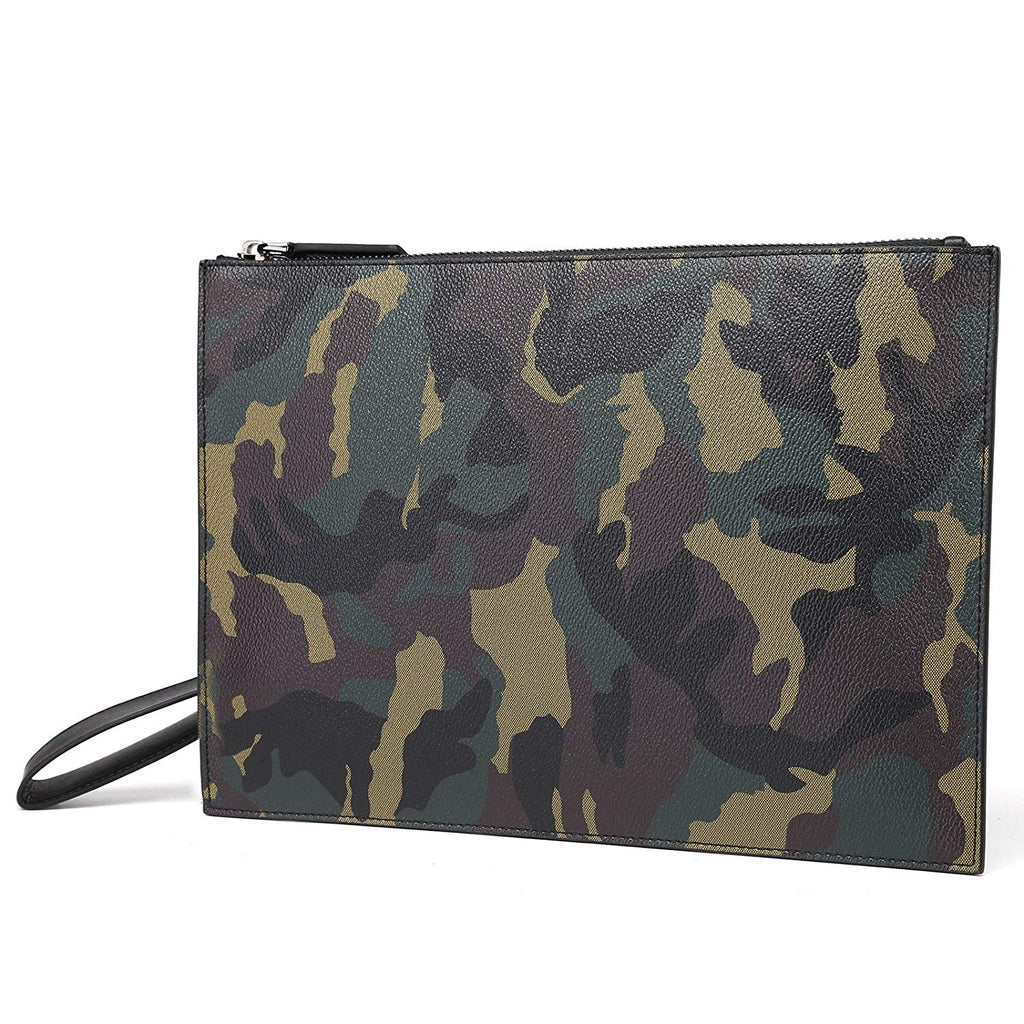 Camouflage Green Genuine Leather Passport Holder Wallet Case Cover for Men Women