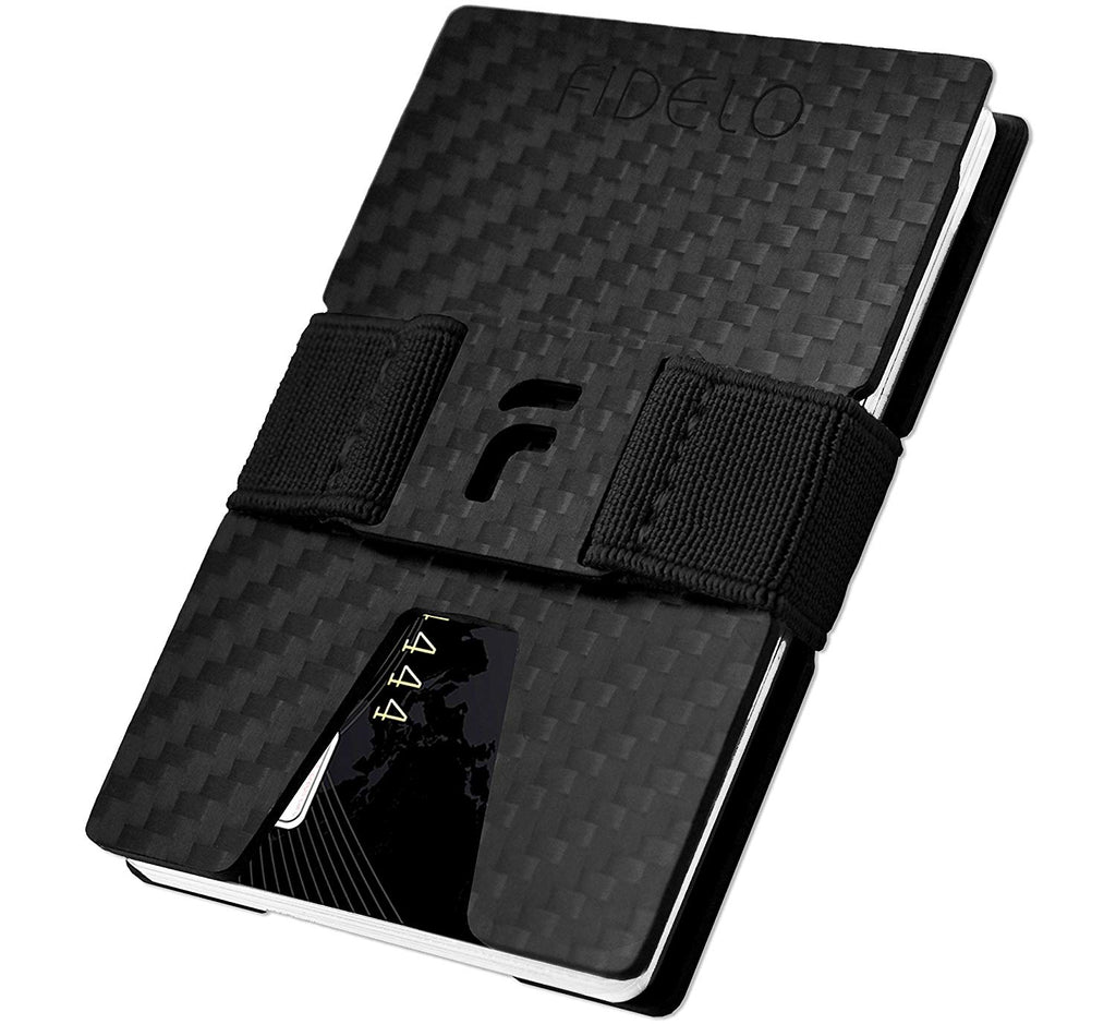 67a03376ab78 FIDELO Carbon FIber Minimalist Wallet - Mens Slim Wallet Credit Card Holder  Money Clip with 4 Cash Bands - Front Pocket RFID Blocking Wallets for Men