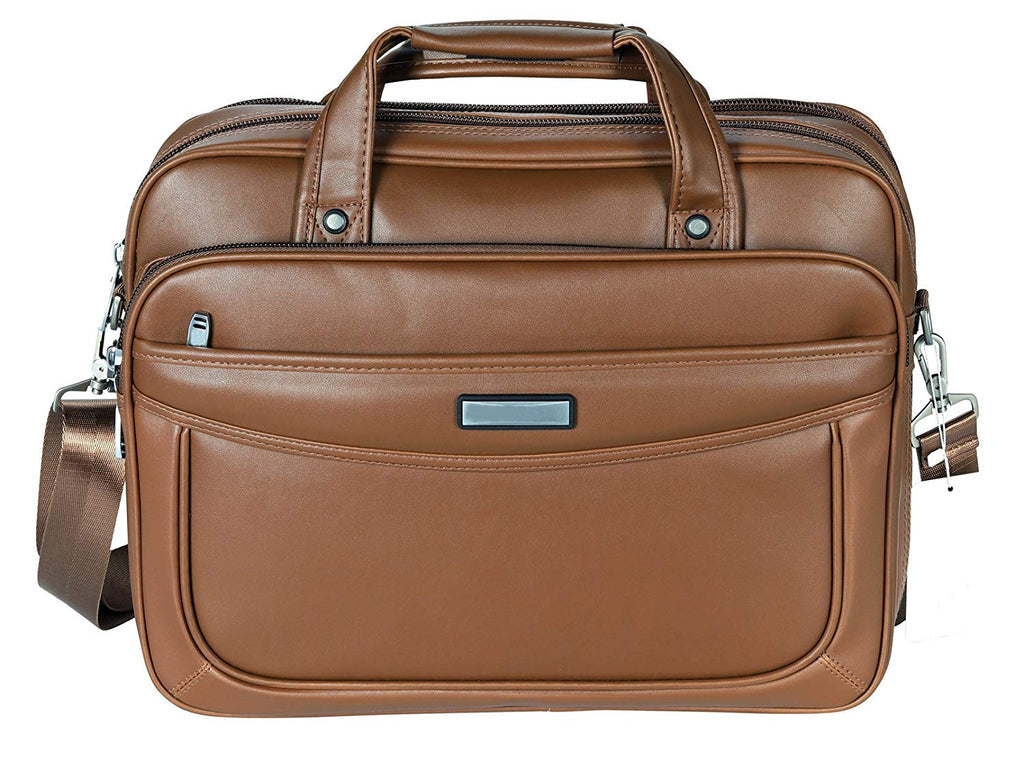 VIDENG Leather Business Briefcase,Extended 15.6 inch Laptop Bag,Large Capacity Shoulder Bags Travel Handbag for Mens and Womens (Light Brown-M1)