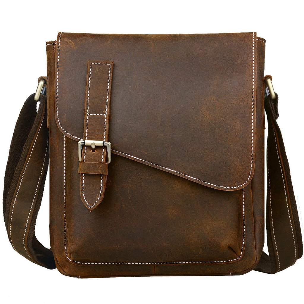 Jack&Chris Handmade Men's Leather Messenger Bag Shoulder Bag Ipad Bag, NM1866