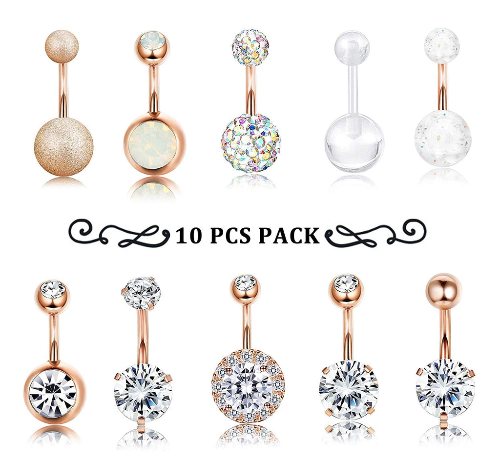 Finrezio 9 Pcs 14G 316L Surgical Stainless Steel Belly Button Rings for Women Navel Ring CZ Barbell Body Piercing Jewelry Set