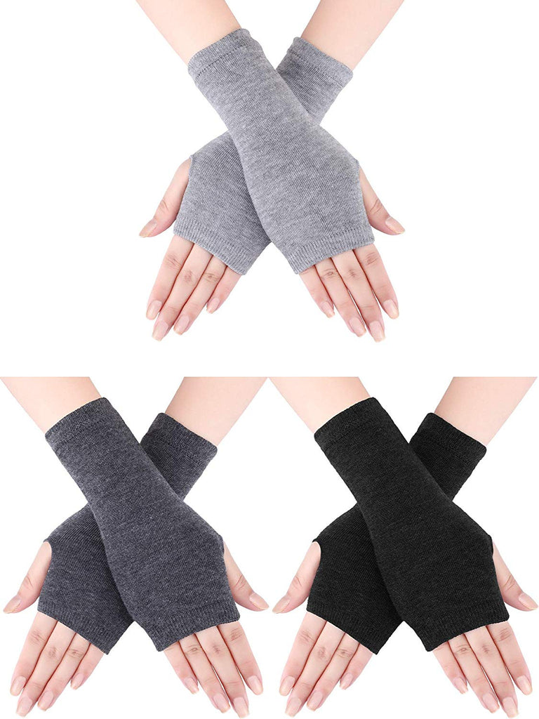 3 Pairs Winter Long Fingerless Gloves Knit Elbow Length Gloves Thumb Hole Arm Warmers for Women Girls