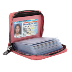 YOOMALL Genuine Leather Credit Card Holder Case with Zipper ID Window RFID Blocking Wallet Purse