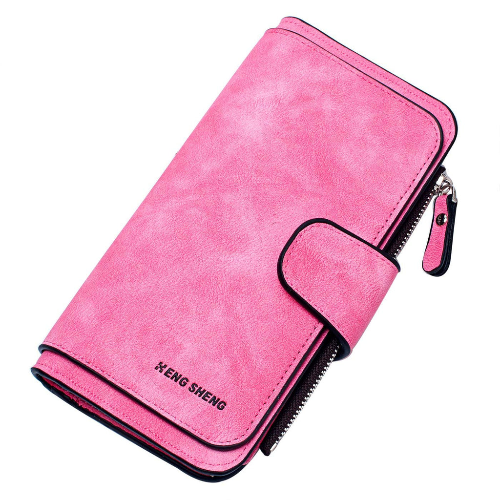 Belsmi RFID Blocking Women Long Leather Wallet Clutch Zipper Card Holder Organizer Bifold Wallets