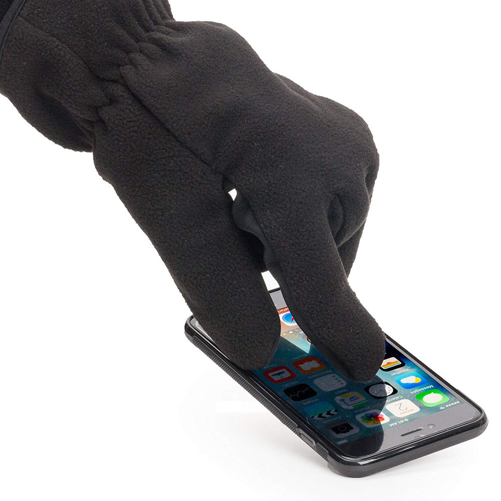 Heat Edge Touch Screen Texting Warm Fleece Winter Gloves for Men