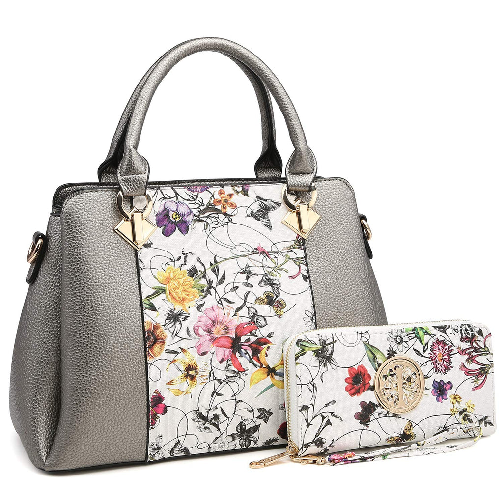 MK Belted collection Fashion Hobo Handbag for Women~2 PCS Women's Tote Bag Satchel Handbag Shoulder Bags W coin purse (8013-Silver White/Flower)