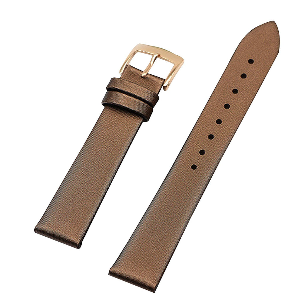 Genuine Leather Thin Satin Twill Covered Watch Bands Strap Replacement