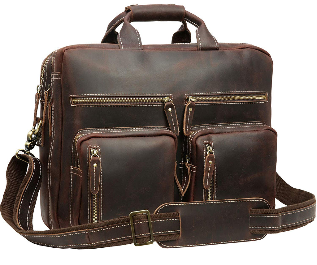 "Travel Bag Leather Messenger Iswee Laptop Briefcase Business Trip Bag For Men (Medium Size-Fit 16"" Laptop, Dark Brown-065)"