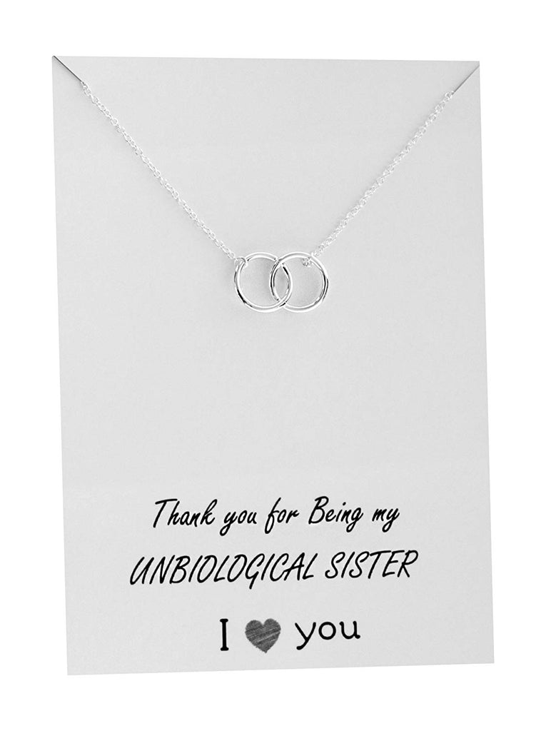VIY Personal Card Friendship Necklace Infinity Beyond Pendant Gift Card Family Friends Jewelry Love for Her Silver Toned