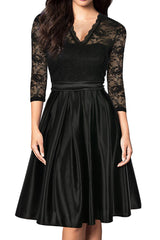Mmondschein Women Vintage 1930s Style 3/4 Sleeve Black Lace A-line Party Dress