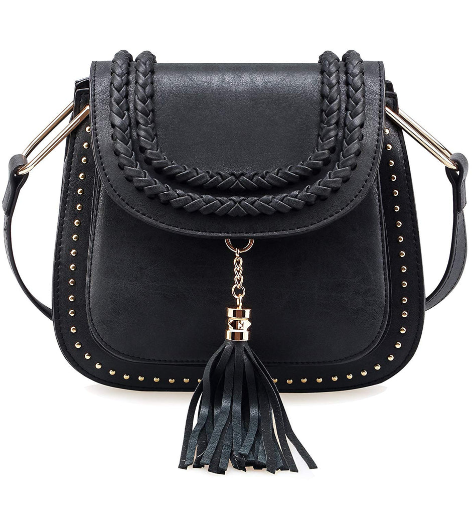 Tom Clovers Womens Vintage Tassel Saddle Shoulder Bag Crossbody Bag Sling Bag Shopping Travel Satchel
