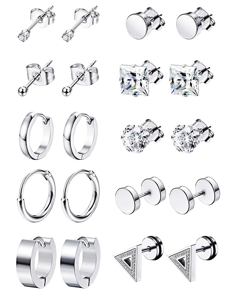 LOYALLOOK 10Pairs Stainless Steel Earrings For Men CZ Stud Earring Tiny Ball Stud Earrings Cartilage Earrings Endless Hoop Earrings For Men Boys