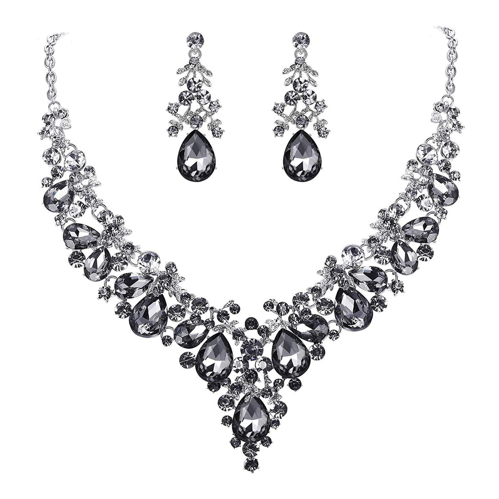 EVER FAITH Women's Crystal Elegant Bridal Floral Cluster Teardrop Statement Necklace Earrings Set