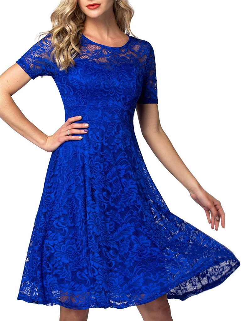 6a5e673ec52b AONOUR Women's Vintage Floral Lace Elegant Cocktail Formal Swing Dress with  Short Sleeve