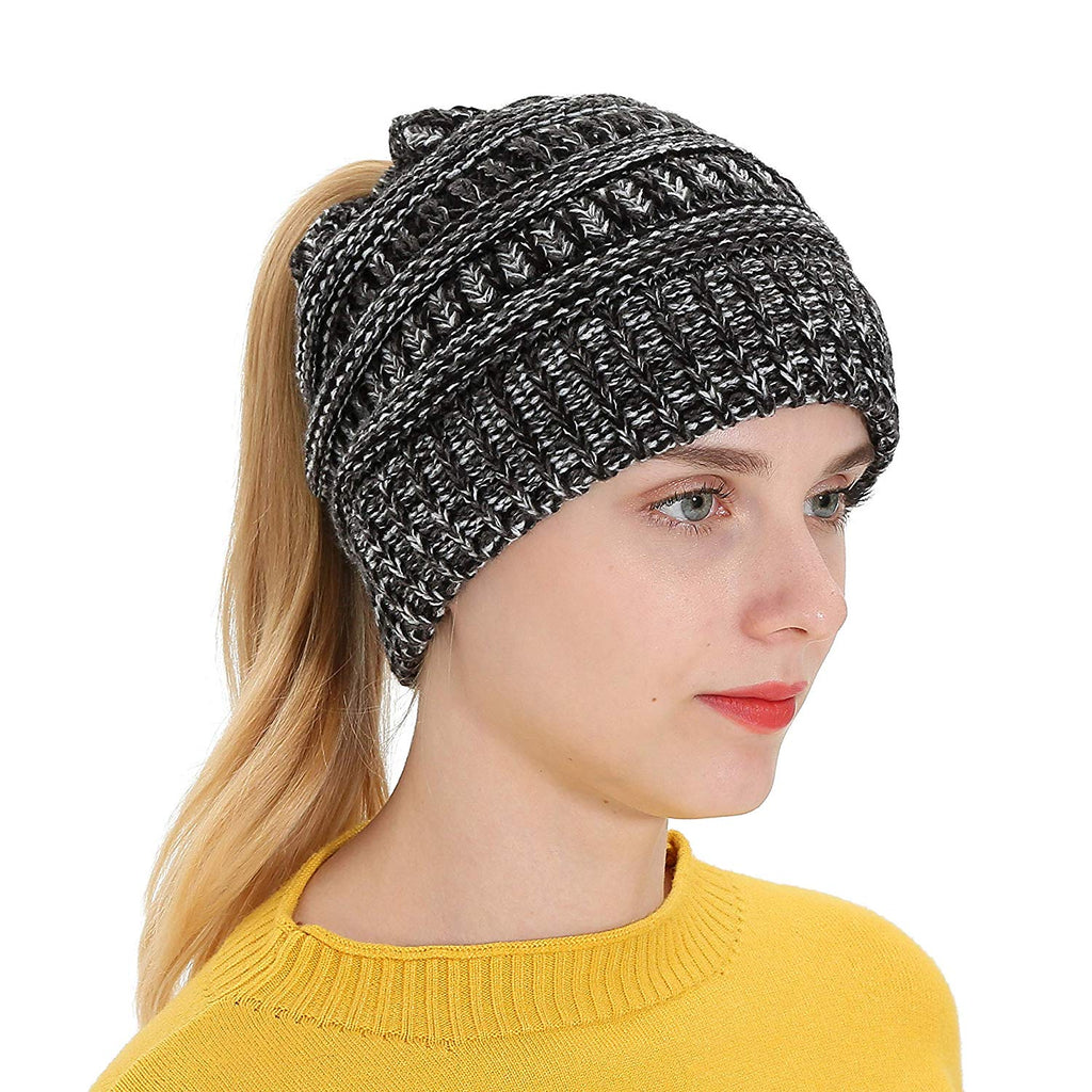 cb9d5b134 T1FE 1SFE Women's Winter Soft Slouchy Beanie Hat with Ponytail Hole ...