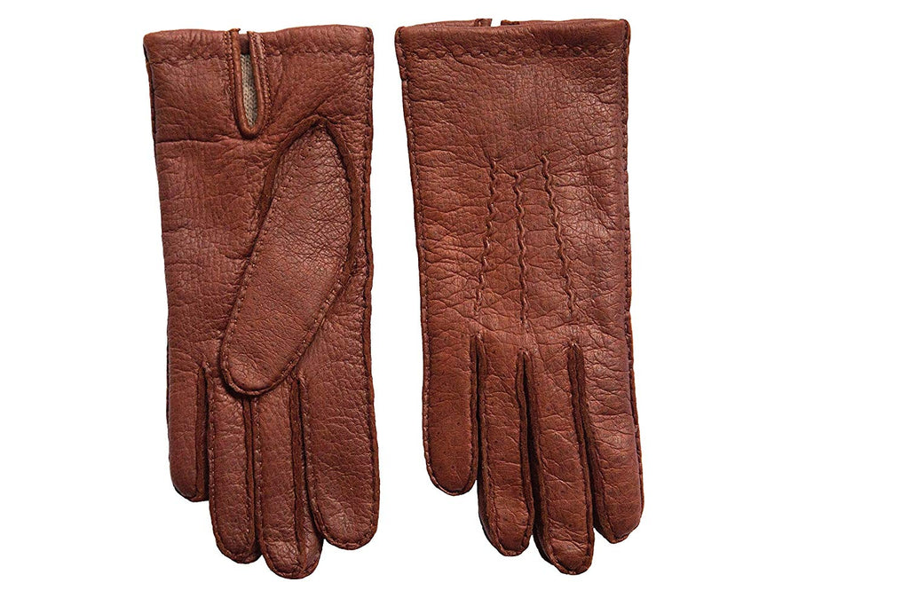 Men's Peccary Winter Gloves Cashmere Lined Hand Sewn Color English Tan by Hungant