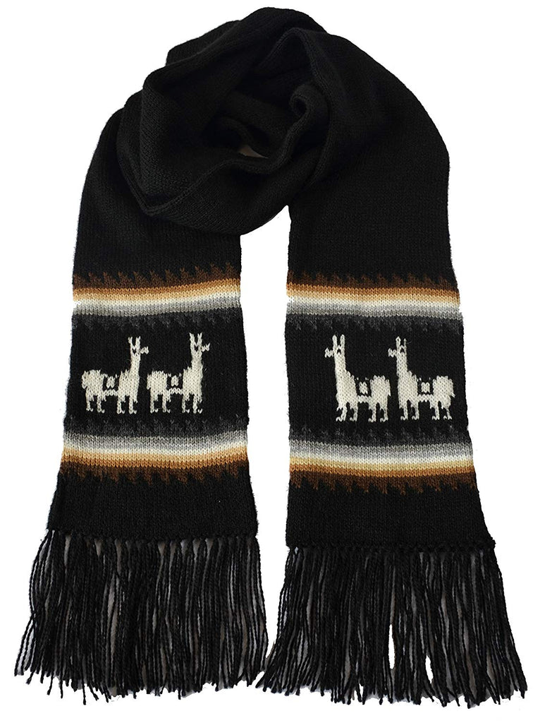 eb61b75e51a72e Gamboa Black Llamitas Men Women Unisex Alpaca Scarf – Supfashion