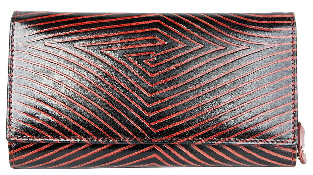 Women's Black-red Clear Coated Genuine Leather Wallet with Red Strips