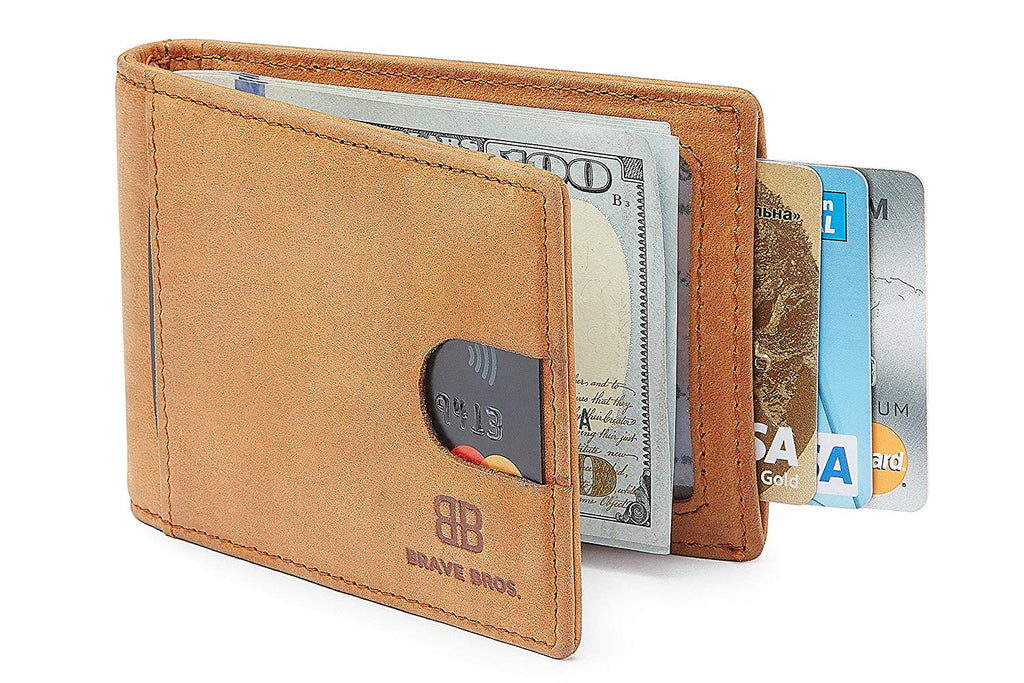 804ee443ca6d BRAVE BROS - Slim Bifold Genuine Leather front Pocket Wallet with ...