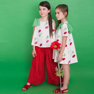 Piccola Ludo Girls Ivory Cotton Blouse & Red Cotton Culottes