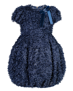 MIMISOL NAVY EYELASH SPARKLY TULIP DRESS