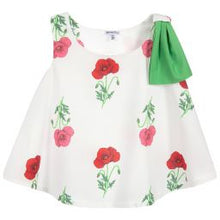Load image into Gallery viewer, Piccola Ludo Girls Ivory Cotton Blouse & Red Cotton Culottes