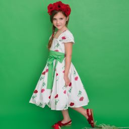 Piccola Ludo Girls Ivory Floral Dress