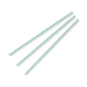 7mm Jumbo green & white stripe ecovio straws (8.25