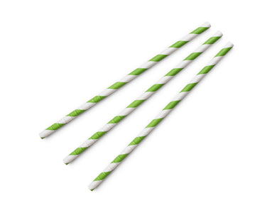 6mm Standard green & white stripe flexi paper straws (7.75