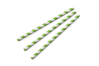 8mm Jumbo green & white stripe paper straws (7.75