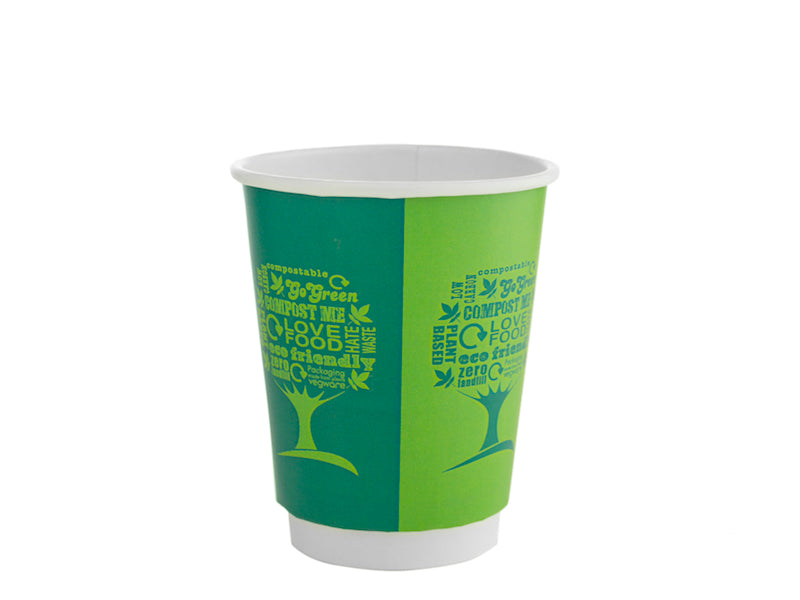 8oz Green Tree Double Wall Hot Cups