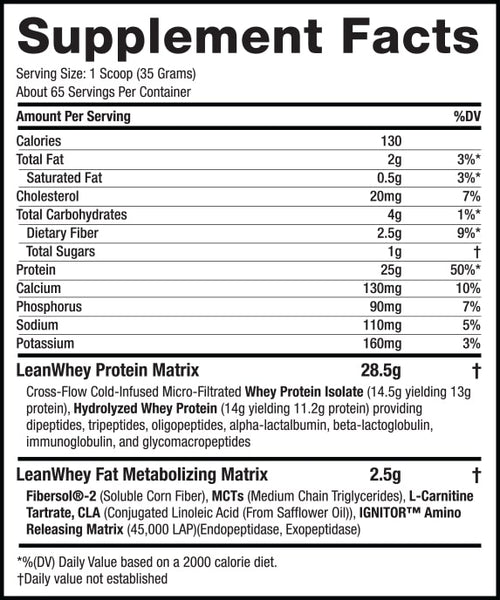 Lean Whey Revolution™ - 5lb – Chocolate Peanut Butter supplement facts