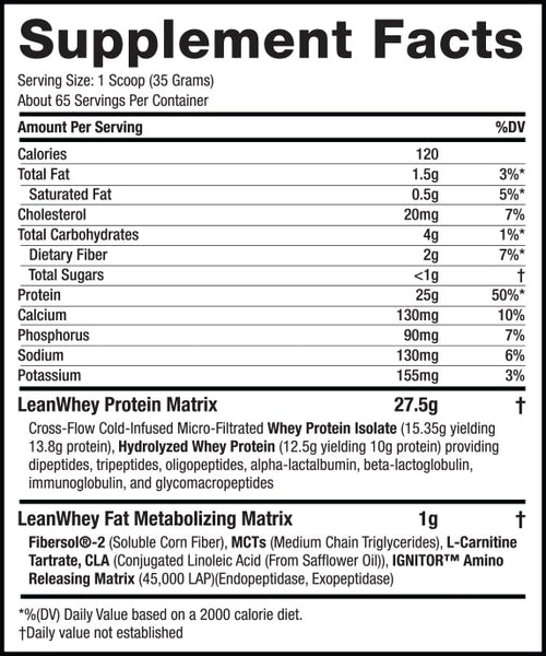 Lean Whey Revolution™ - 5lb – Chocolate Ice Cream supplement facts