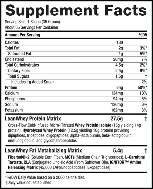 Lean Whey Revolution™ - 5lb – Cookies & Cream supplement facts