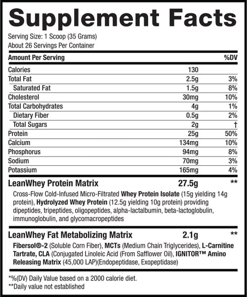 LeanWhey™ Limited Edition – Xmas Cookie Dough supplement facts