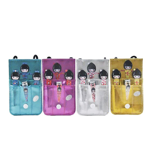 4-Pc Kokeshi Tweezer Pouch Set