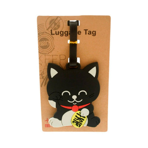 Black Lucky Cat Luggage Tag (DE-LU14-ACO)