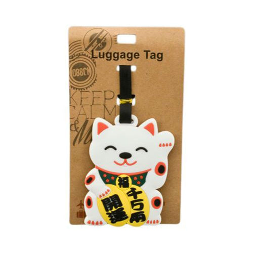 White Lucky Cat Luggage Tag (DE-LU3-ACO)