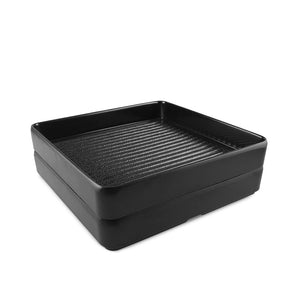 "8"" Square Black Melamine Stackable Tray (TW-40030-8-PLM)"