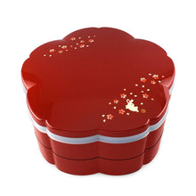 "Load image into Gallery viewer, 8.75"" 2-Tier Sakura Shape with Bunny Patterned Lacquer Bento Box (TW-541076-BBL)"