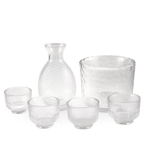 6-Pc Set Glass Sake Bottle/Cups/Bucket Set (TW-70018-5.25-BRG)